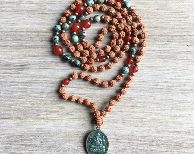 Rudraksha African Turquiose Carnelian Mala Beads, 108 Mala, Gemstone, Handmade, Hand-knotted, Meditation, Yoga, Prayer Beads, Chakra