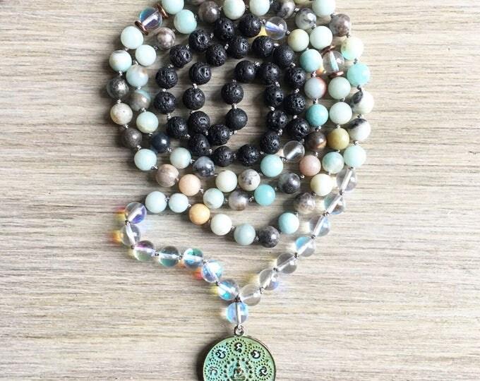 Amazonite Opal Lava Vintage Amulet Mala Beads, 108 Mala, Gemstone, Handmade, Hand-knotted, Meditation, Yoga, Prayer Beads, Chakra