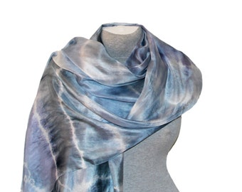 Blue Silk Scarf Hand Painted Silk Scarves Hand dyed Art Silk Scarf Neck Scarf Coworker Gift Summer Party Summer Outdoors Christmas July Sale
