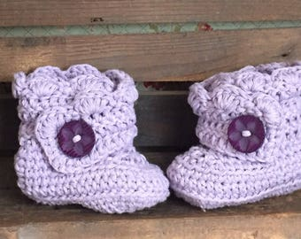 Handmade Baby Booties / Lilac Boots age 3-6 months
