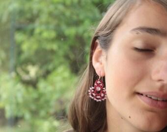 Lightweight earrings handmade lace - colors red - pink quartz - round sterling silver earring findings gift for friend feminine women gift