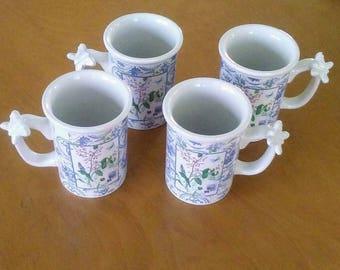 Hallmark Mugs, Ceramic Mugs, White Blue Mug Set, Vintage Mugs, Coffee Mugs, White Coffee Mugs, Toile Mugs, Tea Mugs, Coffee Mug Set, Floral