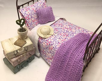 Miniature Dollhouse Duvet Bedding Set - Purple and Pink Flowers - Twin Size