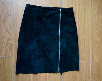 Black suede skirt (real leather) with front zipper detail - size 4