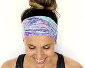 Yoga Headband - Running Headband - Workout Headband - Fitness Headband - Mirage Print - Boho Wide Headband