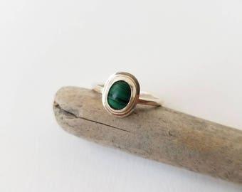 Malachite Sterling Ring Size 7.25