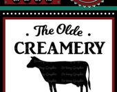The Olde Creamery Fresh Dairy | Cutting File | Printable | svg | eps | dxf | png | Vintage | Farmhouse | Home Decor | Stencil | Cow