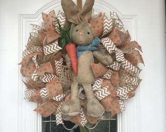 Easter Wreath Spring Wreath Front Door Decor Easter Bunny Wreath Deco Mesh Wreath Burlap Riboon Easter Decor Housewarming Gift