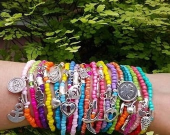 wholesale Bracelets - Boho Chic Colourful Summer Bracelets - seedbeed and metal - stretch bracelets - layering jewelry - bohemian bracelets