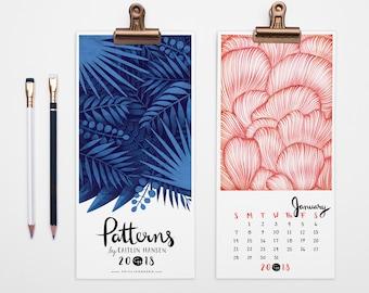 2018 Calendar, Wall Calendar, Pattern Calendar, Christmas Gift, Holiday Gift, Desk Calendar, Illustrated, 2018 Desktop Calendar, Magnet