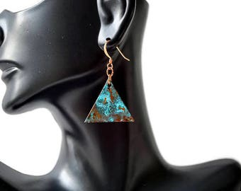 Copper Patina Earrings, Triangle Earrings, Geometric Earrings, Copper Earrings, Blue Patina Earrings