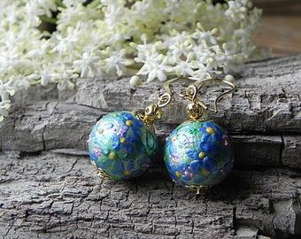 Wooden Earrings Flower Earrings Hand Painted Earrings Forget Me Not Earrings Wood Circle Earrings Wooden Jewelry  Hand Painted Jewelry