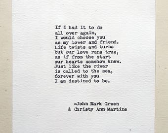 Christmas Gifts for Men - Anniversary Gifts for Him or Her - Hand Typed Love Poem by John Mark Green and Christy Ann Martine