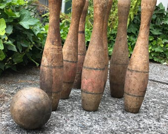 Vintage Wooden Bowling game, game of ten pins, Turned wood pins and ball, vintage lawn game, bowling collectible, wooden pins skittles, gift