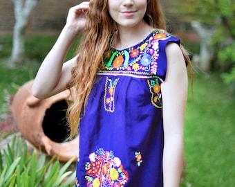 Mexican hand embroidered dress size small,cobalt/lapis blue Mexican sleeveless dress, Puebla dress, tribal dress, boho dress, ethnic dress