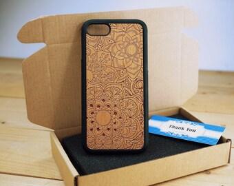 Mandalas Full Protection - Personalize  Wood iPhone case Wood iPhone 7 Case iPhone 6S Case wood iphone 6 case