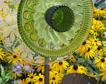 vintage glass garden art flower, upcycled glass flower, garden art, garden gift, plate flowers, suncatcher, glass garden art,garden ornament