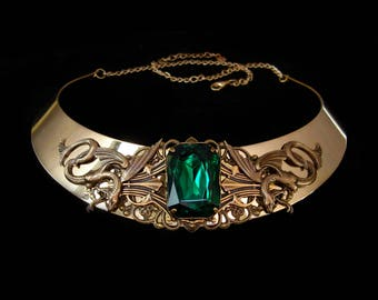 Snakes Necklace - Medusa - Gorgon - Mythical - Bronze - Green Emerald - Fairy Melusina - Medieval - Fantasy - Torc - Slytherin - Jewelry