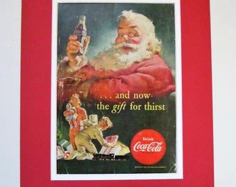 1952 Coca Cola Santa Claus Vintage Advertisement Matted 11x14 Christmas Wall Art Holiday Decor 1950s Christmas Decoration Original Ad
