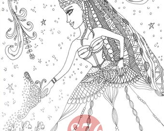 Fairy and butterfly / coloring book page / Digital stamp