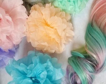 Rainbow pastel unicorn clip extensions- strip weft, 16 inches long, pink, aqua, lavender