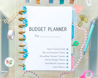 Happy Planner Inserts BUDGET PLANNER PDF 7.25 x 9.25 Monthly Financial Binder Tracker printable 12 docs Made to Fit Erin Condren planner