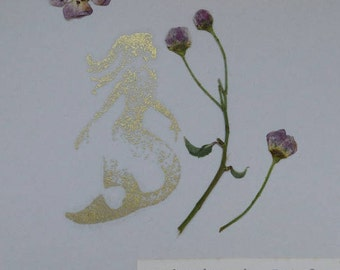 Mermaid Pressed Flower Card....The Enchanted Garden Series