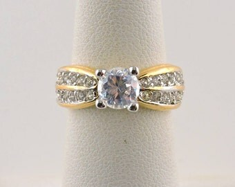 Size 5 18k Gold Plated 1ct Round Cubic Zirconia Ring With Accent Stones