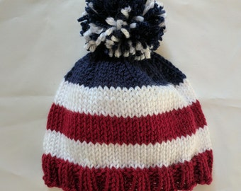 Hand Knit American Flag Baby Hat / Red White and Blue Baby Hat