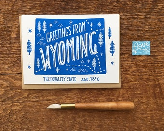 Wyoming Greeting Card, Greetings from Wyoming, A6 Folded Note Card, Blank Inside