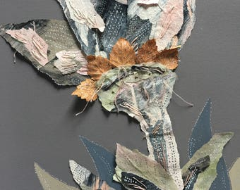 Floral art - Single flower with leaves. Original Hand painted & stitching on art paper