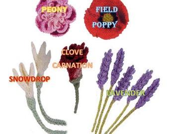 Knit flower pattern flower applique PDF knit flower easy knit flower pattern flower applique pattern