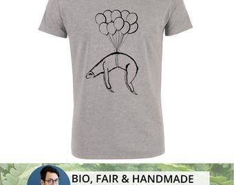 Flying Sloth - organic - handmade - t-shirt for men