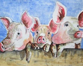 original three little pigs art, colorful farm animal art, baby shower, nursery art, pink piglets, piggy, pigs at the farm, wall hanging