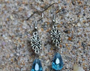 Turquoise Crystal Drop Earrings