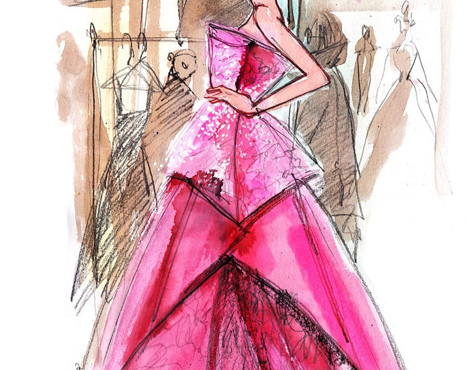 Backstage - Fashion illustration, Fashion sketch, Runway look, Watercolor illustration, Watercolor sketch