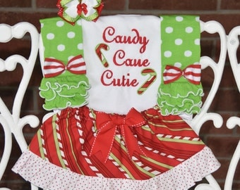 4 pc. Girls Christmas Outfit! Candy Cane Cutie outfit for baby girls/ Baby Girl Christmas Outfit/ Candy cane  Outfit/Christmas skirt