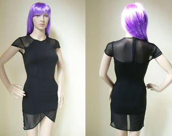 LITTLE BLACK DRESS -cocktail, party, bodycon, sexy, gothic, 90s, short sleeve, transparent, mesh, stretchy, mini, night-
