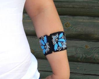 Beaded bracelet for women Bead embroidered bracelet Cuff bracelet with stone Hand beaded cuff Wide bracelet blue Designer bracelet