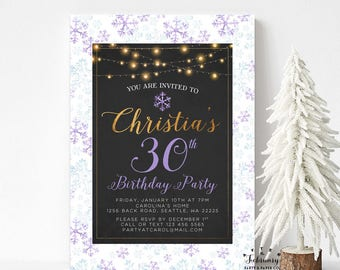 ANY AGE // Purple Black Gold Women Adult Birthday Invitations Winter Snowflake Birthday Invitation Printable No.581BDAY