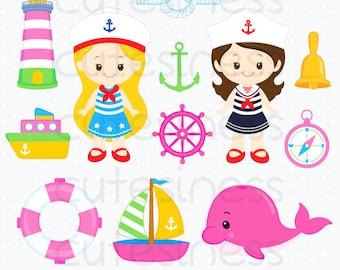 Nautical Clipart, Nautical Girl Clipart, Sailor Clipart, Girl Clipart