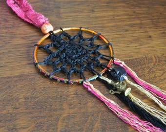 Crochet Dream Catcher - Handmade Lace Boho Hippy Hippie Wicca Goth Spooky Halloween Pink Black Bright Colourful SkullPastel Nu