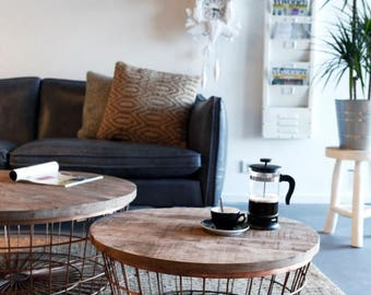 Copper Pipe Wire Round Storage Coffee Table