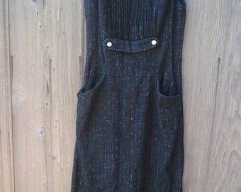 Vintage 1960's Black Dress with Color Specks and Two Side Pockets