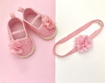 Pink Baby Shoes and Headband Set -Baby Girls Flower Princess  Shoes -Newborn Pink Shoes