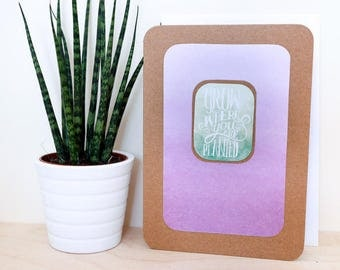 Grow Where You Are Planted A6 Card; blank inside, motto, motivation, brown kraft, garden, roots, family, horticultural, plants, print, home