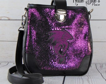 Leather Crossbody Bag in Black and Purple with Dragon Embroidery Patch, Full Grain Leather Crossbody Bag (Ready to Ship)