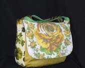 Upcycled messenger laptop diaper bag with crossbody strap vintage material, necktie, towel with yellow rose lined and interfaced