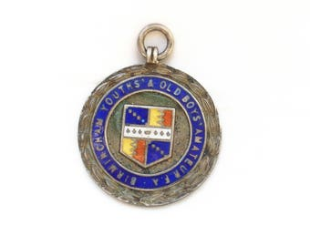 Vintage English Handmade Sterling Silver Enamel Albert Watch Fob Award Medal Pendant - Free Shipping USA