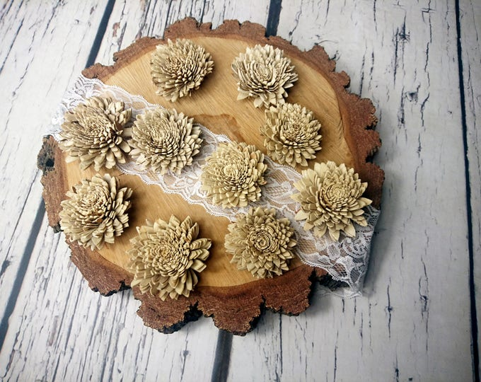 Skin Sola wooden bark Flowers Wedding decoration brown ivory diy bouquet floral supply natural rustic 10 pcs 6cm zinnia table decor